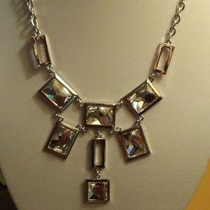 Swarovski Silver Tone Clear Crystal Collar Necklac